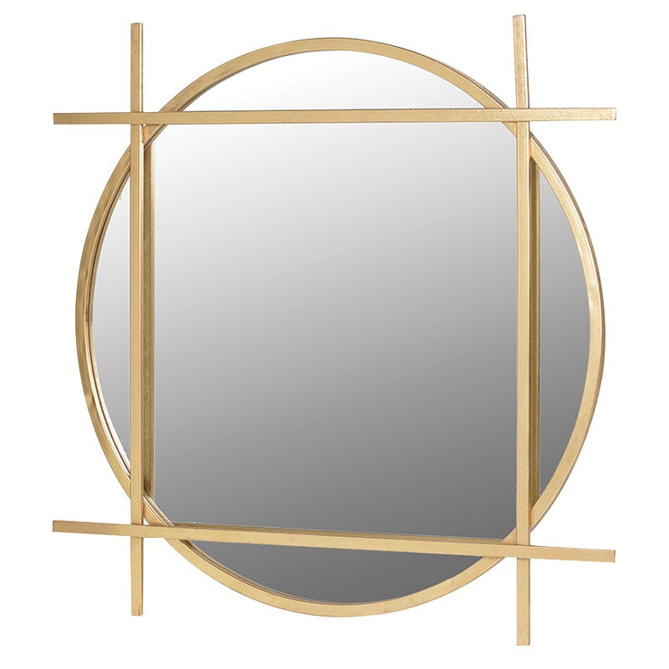 Round Gold Mirror with Square Overlay