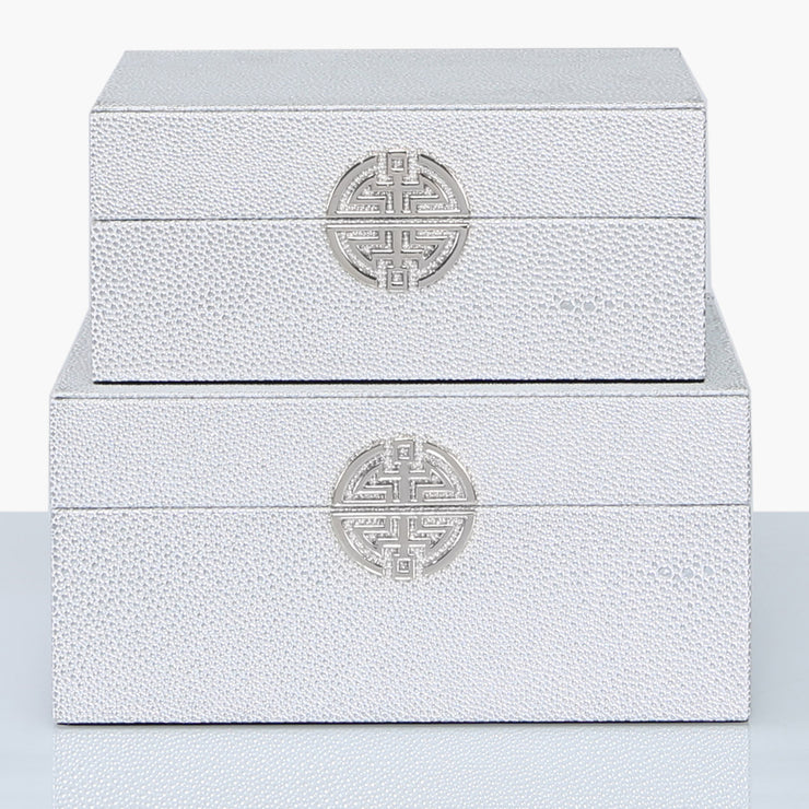 Set of 2 Silver Faux Stingray Leather Jewellery Boxes