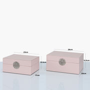 Set of 2 Rose Pink and Silver Faux Leather Jewellery Boxes