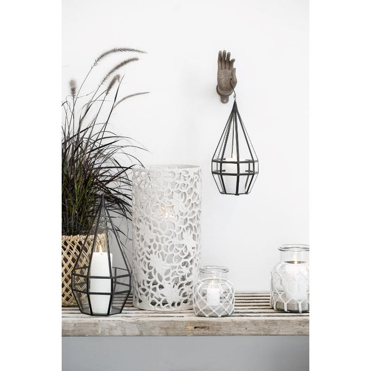 Lge White Rustic Pillar Candles