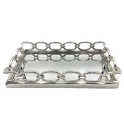 Rectangle Chain Link Mirrored Tray