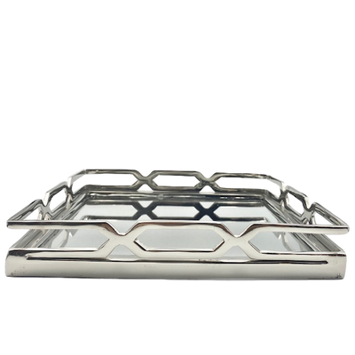 Patterned Edge Mirrored Tray