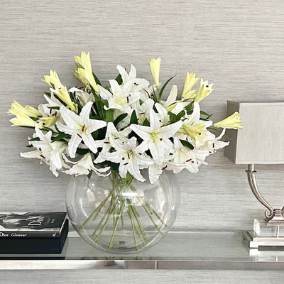 XXL Clear Glass White Lily Bowl