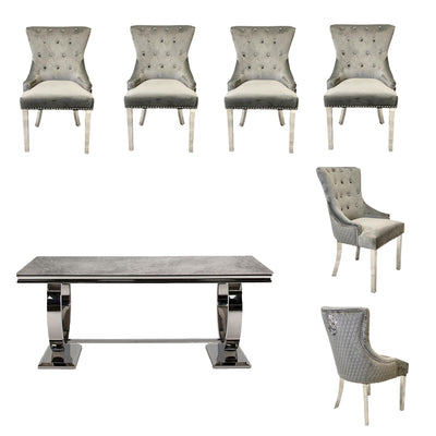 Arianna Dining Table & 6 x Grey Lion Knocker Dining Chairs