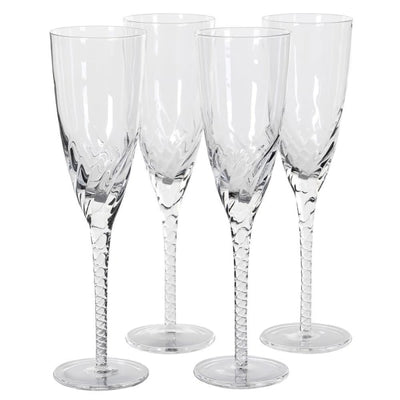 Set of 4 Twisted Stem Champagne Glasses