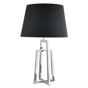 Chrome Crossed Frame Table Lamp With Black Tapered Shade