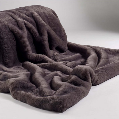 Russian Blue Faux Fur Throw