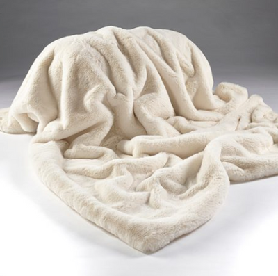 Cream Plush Faux Fur Throw