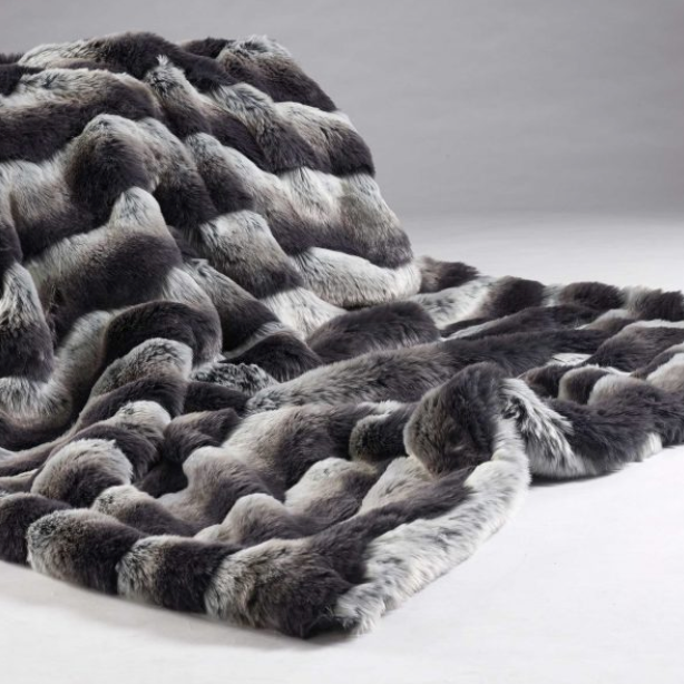 Montana Stripe Faux Fur Throw