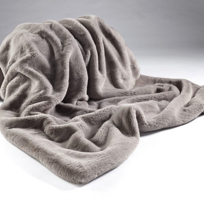 Soft Grey Faux Fur Throw