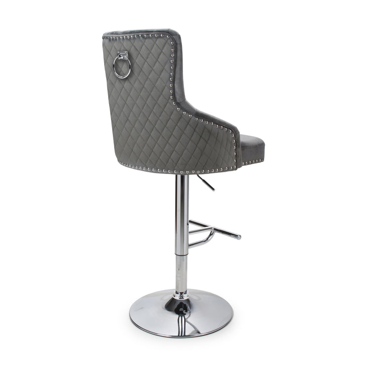 Sirocco Quilted Grey Knocker Barstool