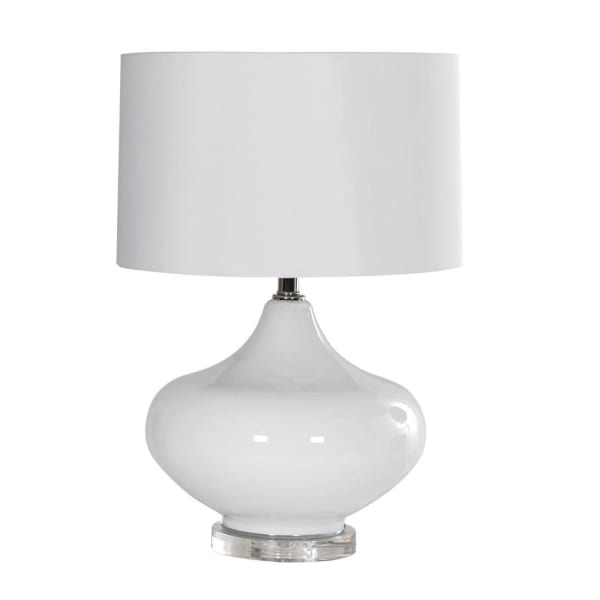 White Glass Round Table Lamp