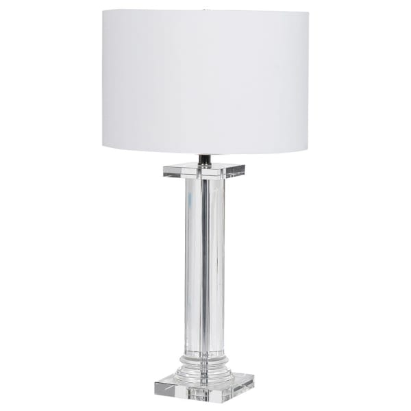Solid Glass Column Table Lamp