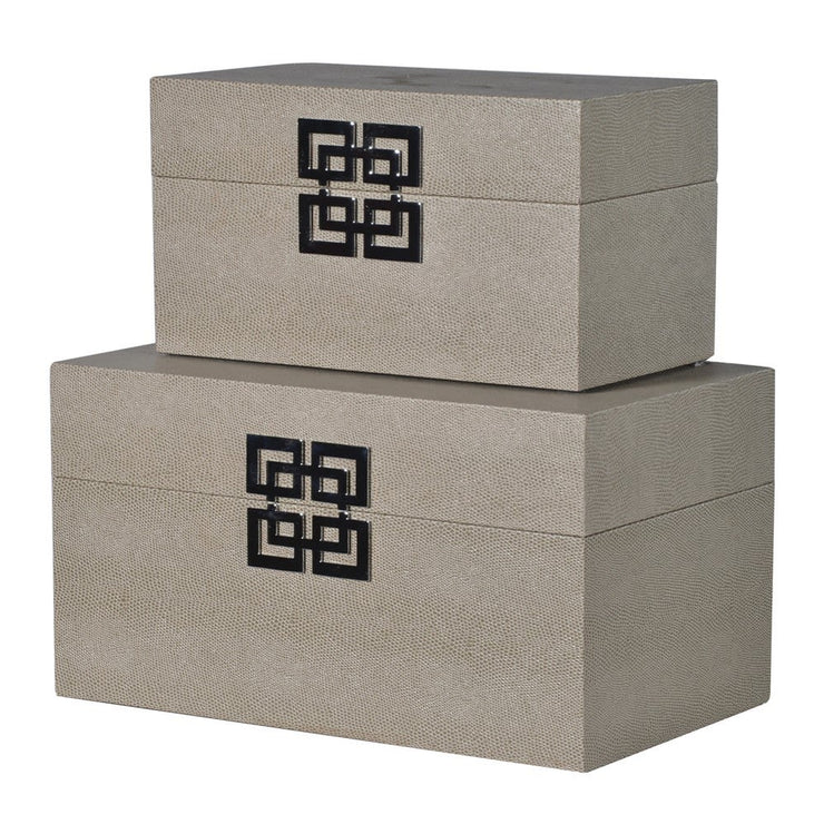 Set of 2 Snakeskin Effect Boxes