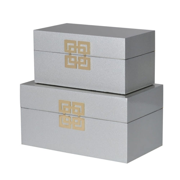 Set of 2 Silver Lacquered Boxes