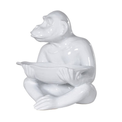 White Gloss Monkey Bowl Statue