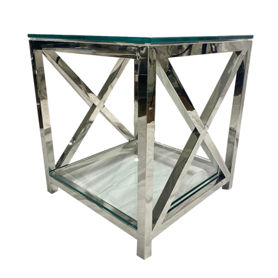 New York X End Steel & Glass Side Table