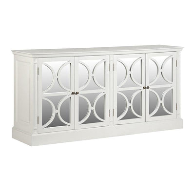 White 4 Door Circles Mirrored Sideboard