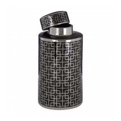 Black & Silver Ginger Jar