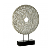 Round Silver Wooden Sculpture