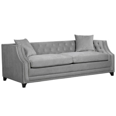 Dove Grey Buttoned Back Sofa Bed