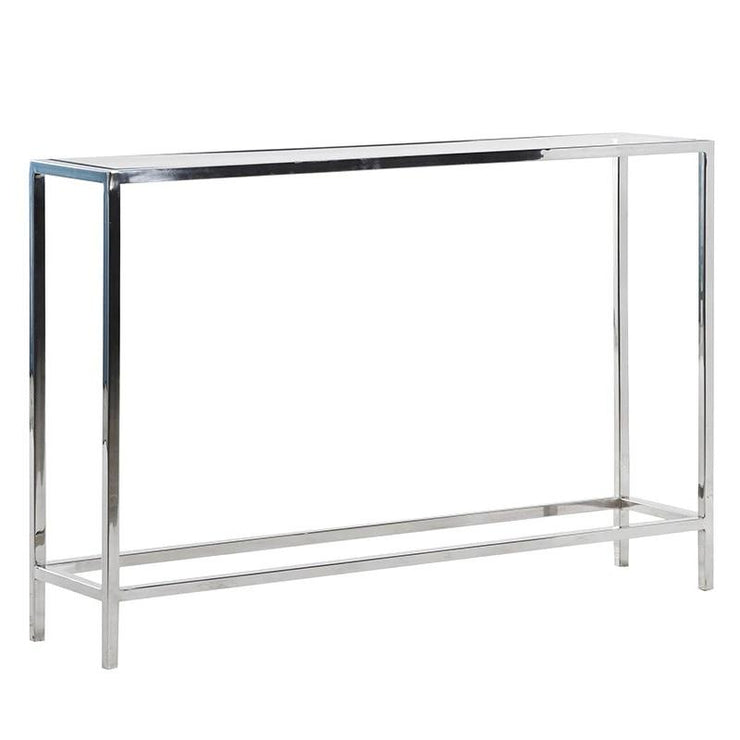 Narrow Glass & Steel Console Table