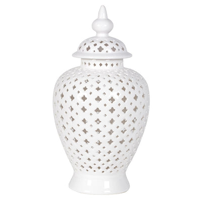 White Ceramic Pierced Urn