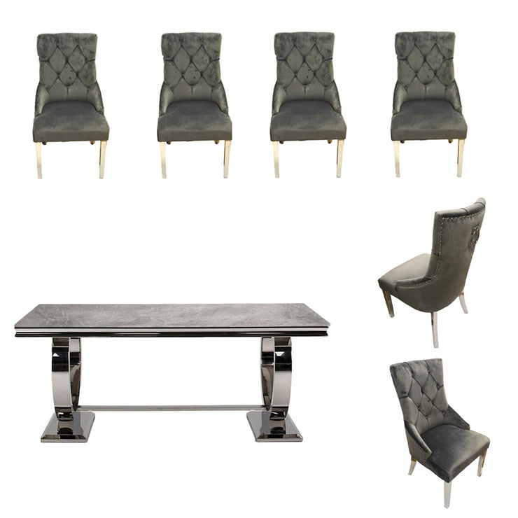 Arianna Dining Table & 6 x Grey Cheltenham Dining Chairs