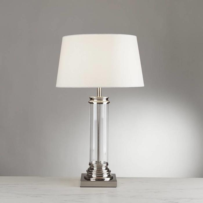 Glass Column & Satin Silver Base Table Lamp