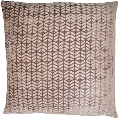 Textured Geometric Grey Velvet Cushion Small