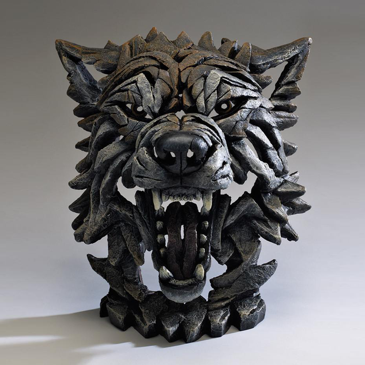 Wolf Bust Statue - Timber