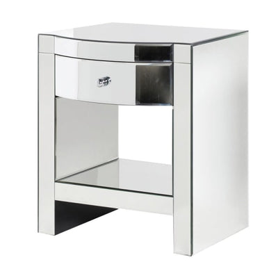 Mirrored Curved Bedside Table