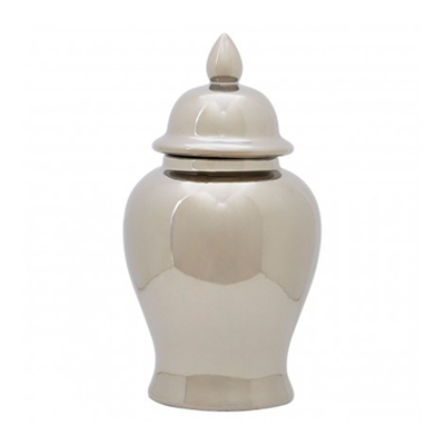 Silver Ceramic Ginger Jar