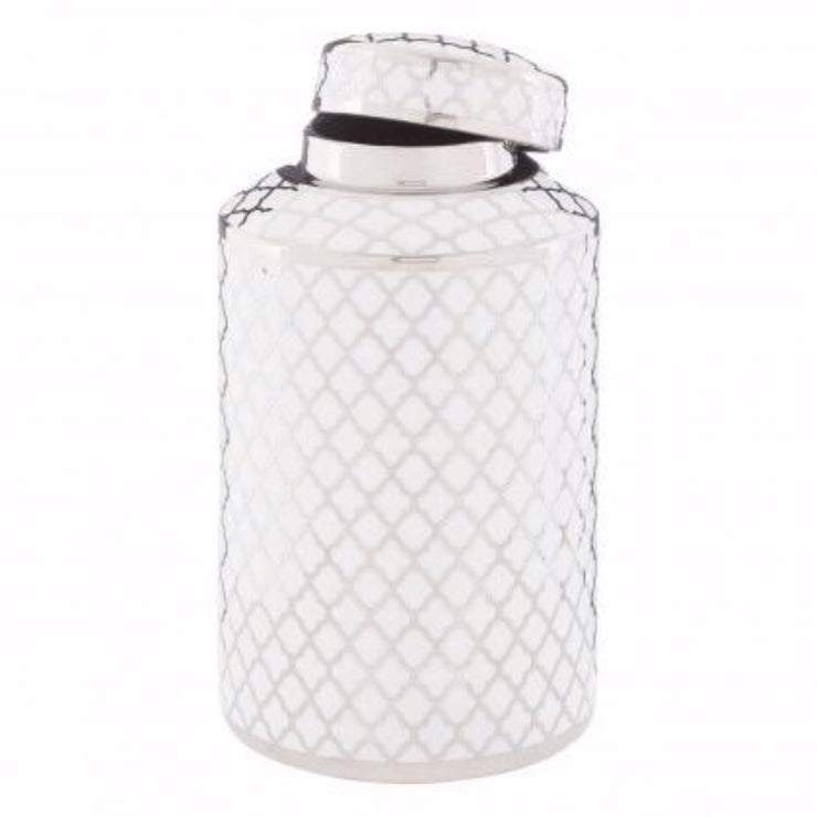 Silver & White Pattern Jar
