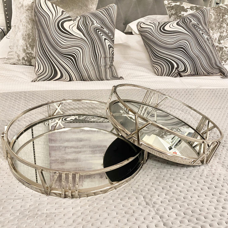 Roman Numeral Metal & Mirrored Tray