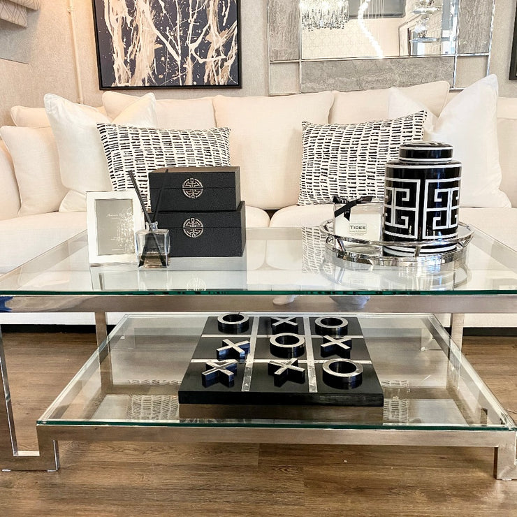Rectangle 2 Tier Steel & Glass Coffee Table