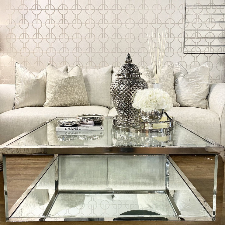 Montana Mirrored & Glass Stainless Steel Coffee Table