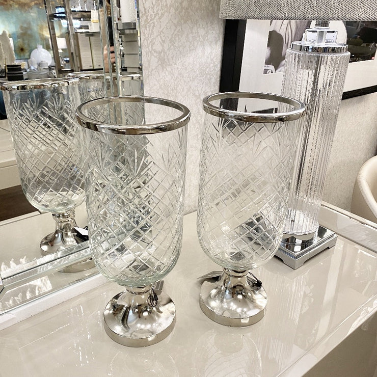 Large Cut Glass Candle Holder