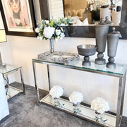 Slim Cube Glass & Mirror Console Table