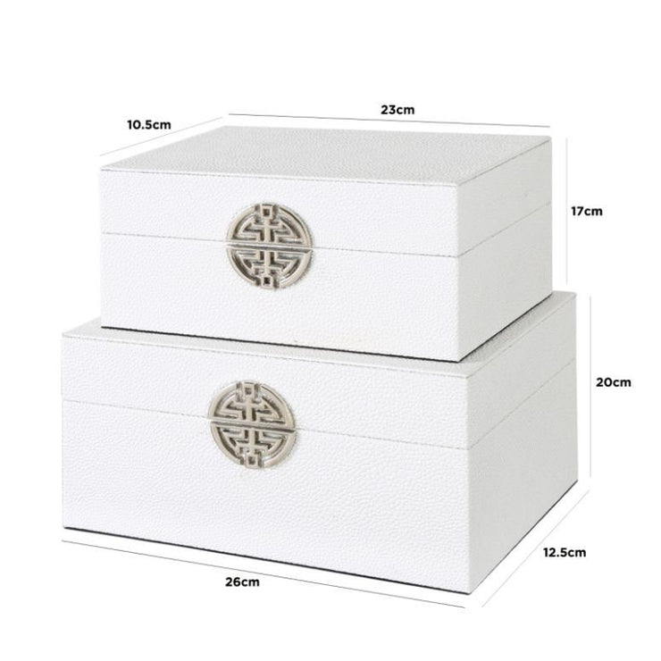 Set of 2 White Faux Leather Jewellery Boxes