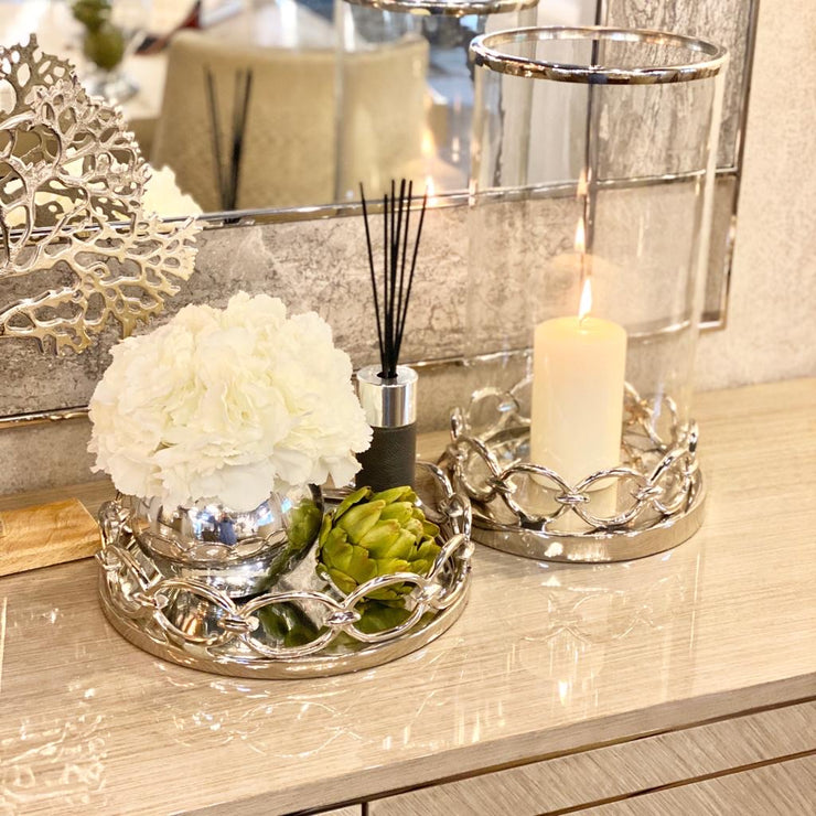 Round Chain Link Mirrored Tray