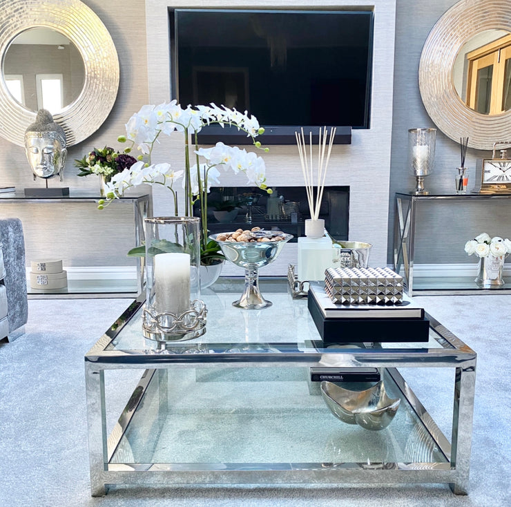 Silver Wave Effect Wall Mirror
