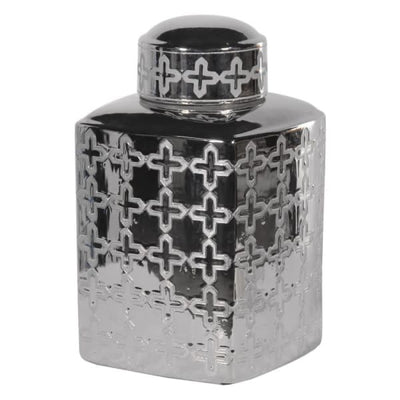 Silver Patterned Ginger Jar