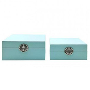 Set of 2 Blue Faux Stingray Leather Jewellery Boxes