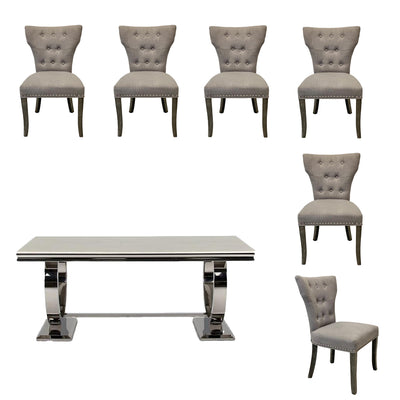 Arianna Dining Table & 6 x Madrid Grey Linen Wingback Dining Chairs