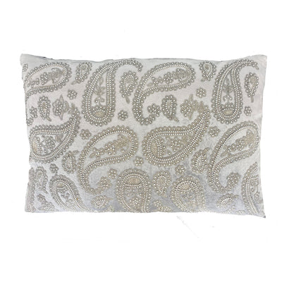 Paisley Hand Beaded Silver Cushion
