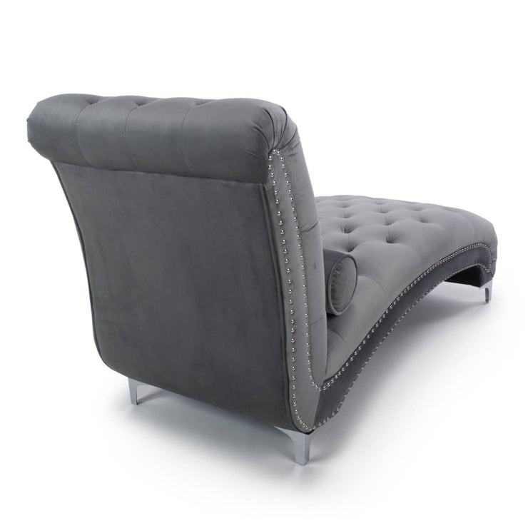 Grey Brushed Velvet Chaise Longue