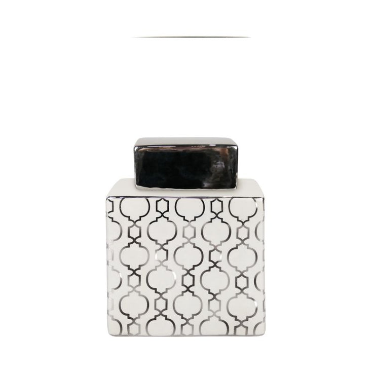 Geometric Square Pattern Jar