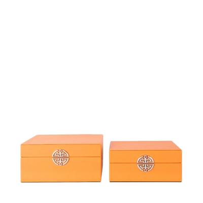 Set of 2 Orange Faux Stingray Leather Boxes