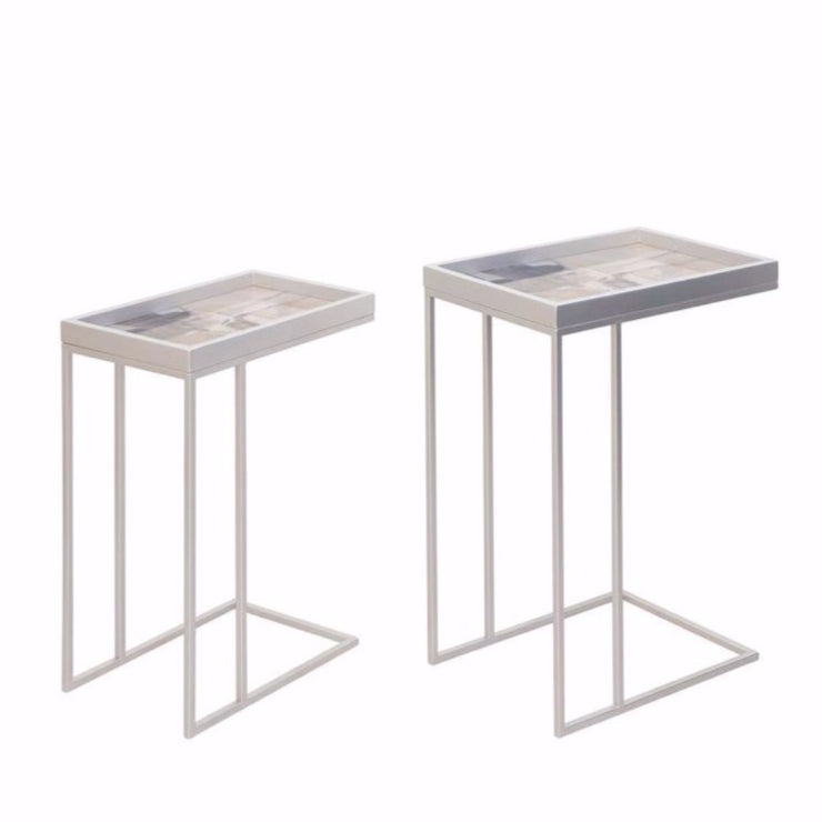Set Of 2 Pink Abstract Tables With Silver Legs